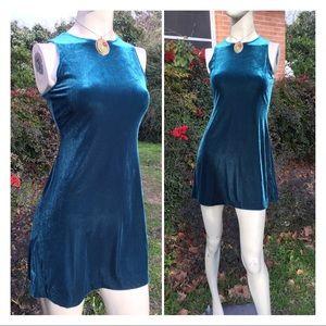 90's Jewel Tone Velour Mini Dress